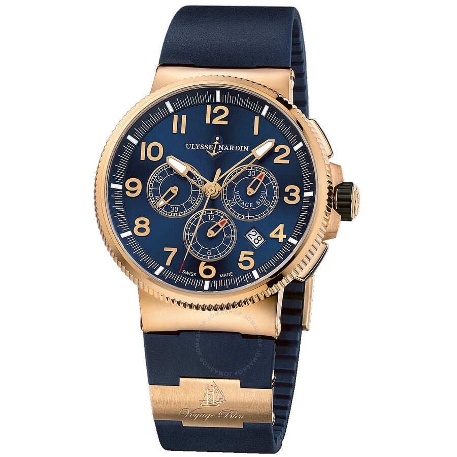 Ulysse Nardin Maxi Marine Chronograph Blue Dial 18K Rose Gold Automatic Mens Watch 1506-150LE-3-63-V