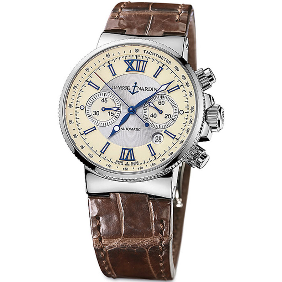Ulysse Nardin Maxi Marine Chronograph Ivory Dial Brown Leather Automatic Mens Watch 353-66-314