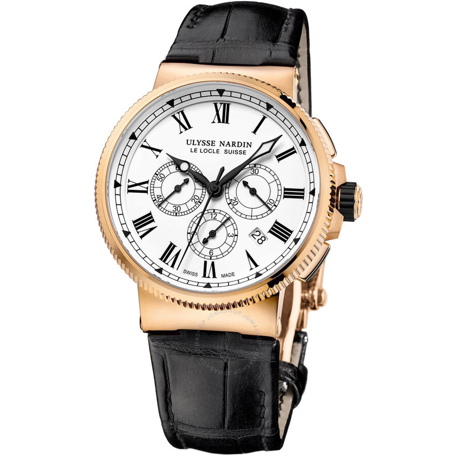 Ulysse Nardin Maxi Marine Chronograph White Dial 18K Rose Gold Automatic Mens Watch 1506-150LE