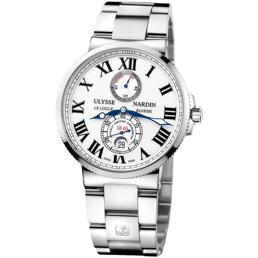 Ulysse Nardin Maxi Marine Chronometer White Dial Stainless Steel Automatic Mens Watch 263-67-7-40