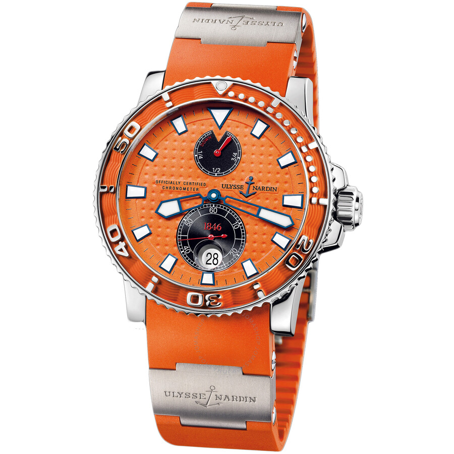 Ulysse Nardin Maxi Marine Diver Chronometer Orange Dial Rubber Strap Automatic Mens Watch 263-33-3-9