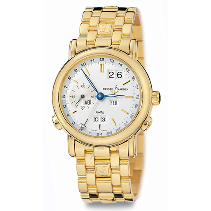 Ulysse Nardin Perpetual Silver Dial 18kt Yellow Gold Mens Watch 321-22-8