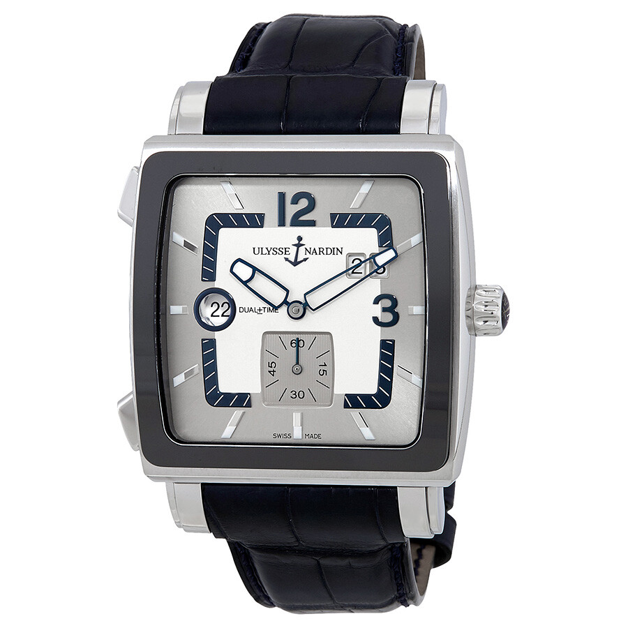 Ulysse Nardin Quadrato Dual Time Silver Dial Black Leather Automatic Mens Watch 243-92CER-601