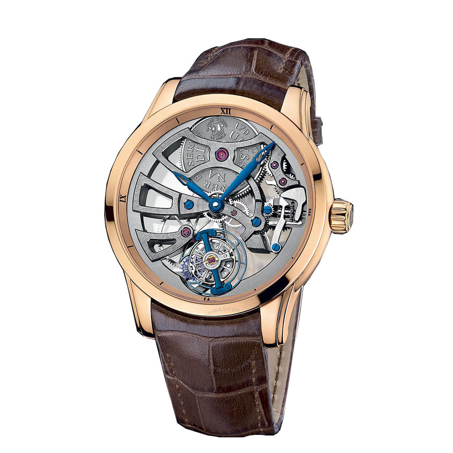 Ulysse Nardin Skeleton Tourbillon Manufacture 18K Rose Gold Mens Watch 1706-129