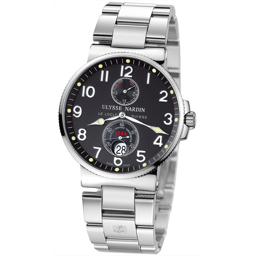 Ulysse Nardine Maxi Marine Chronometer Black Dial Stainless Steel Mens Watch 263-66-7-62