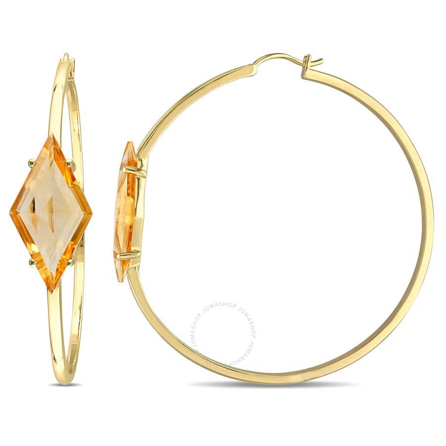 V1969 Italia 13 CT TGW Citrine Prism Hoop Earrings in Yellow Plated Sterling..