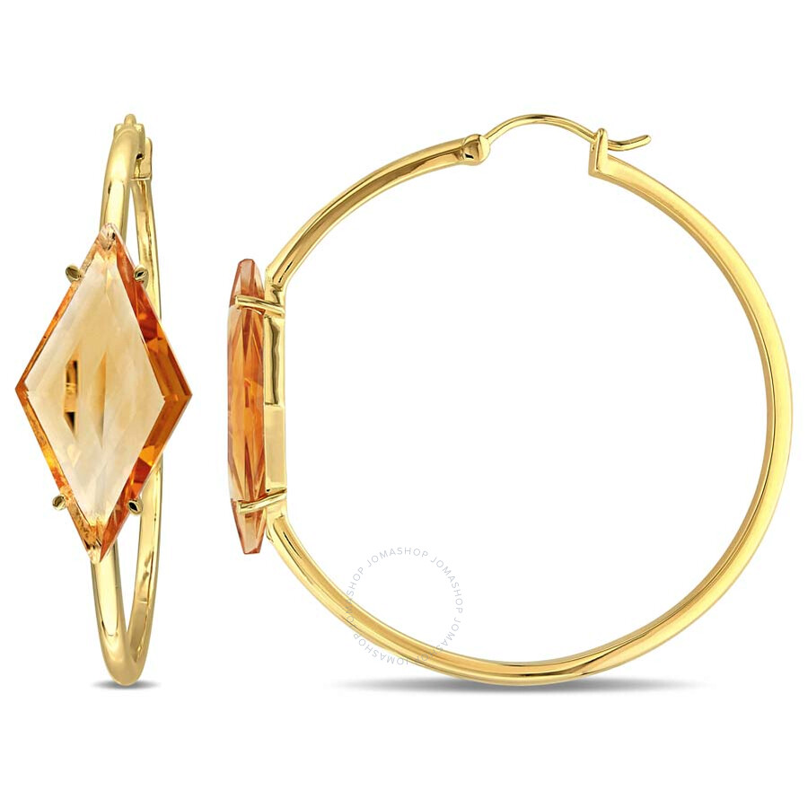 V1969 Italia 13ct Tgw Citrine Prism Hoop Earrings In 18k Yellow Gold Plated Sterling Silver 50x13