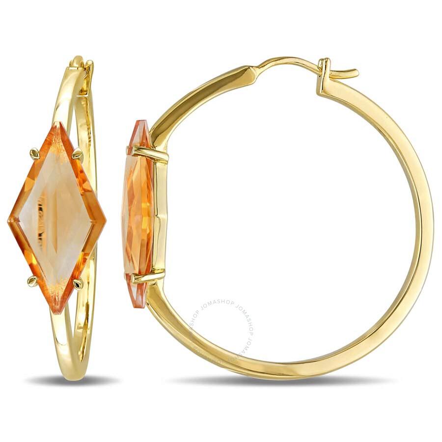 V1969 Italia 6 3/4ct TGW Citrine Prism Hoop Earrings in 18k Yellow Gold Plat..