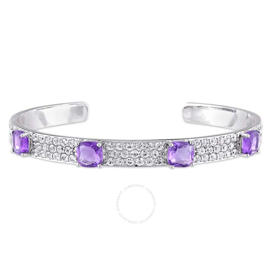 V1969 Italia Amethyst and White Sapphire Bangle in Sterling Silver