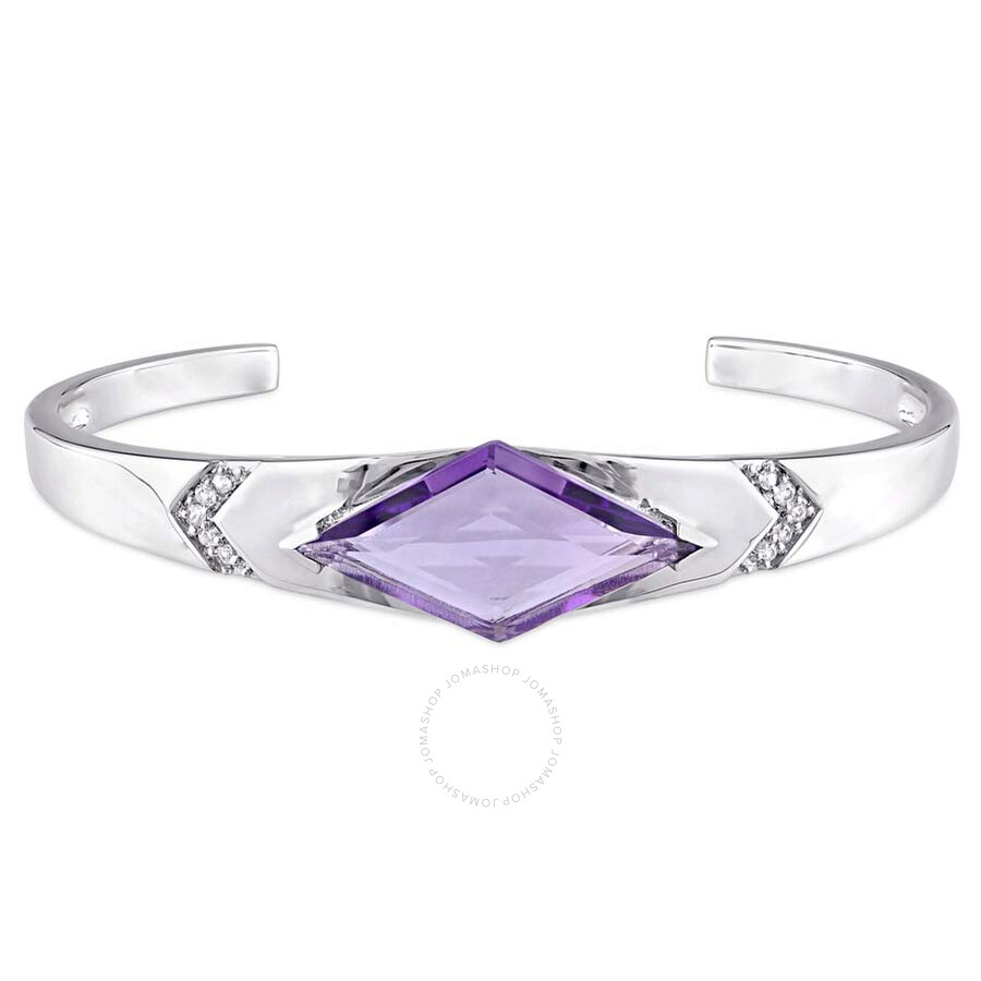 V1969 Italia Amethyst and White Sapphire Prism Bangle in Sterling Silver
