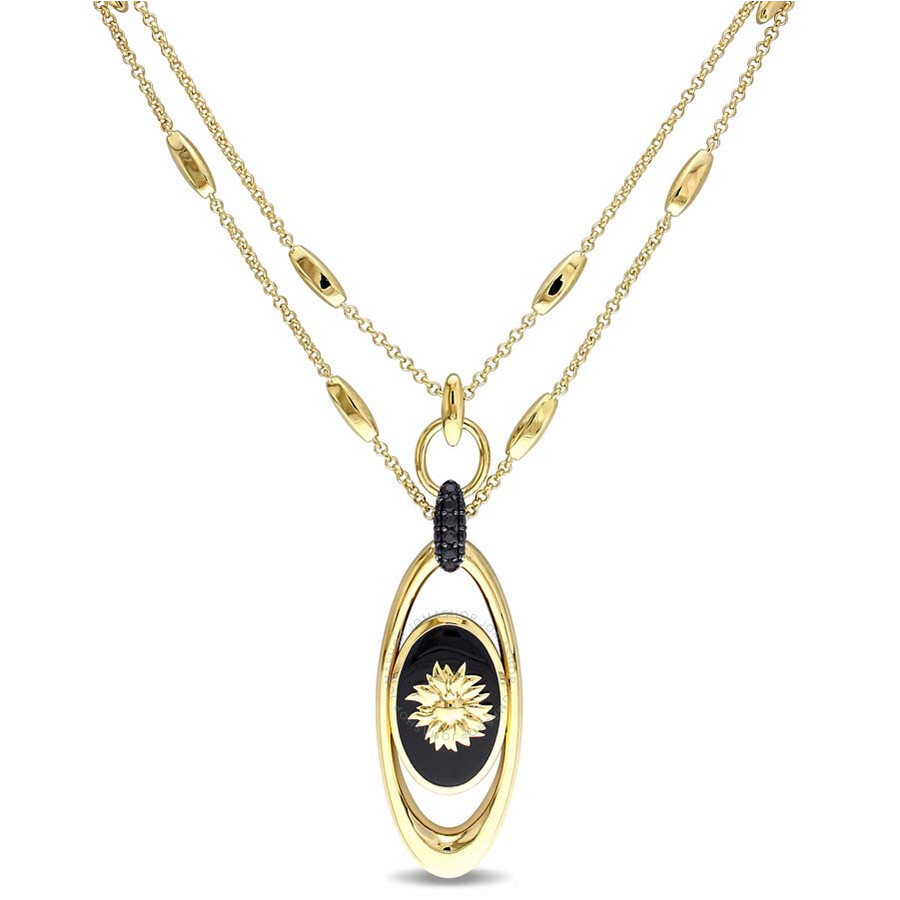 V1969 Italia Black Agate and Black Sapphire Sunflower Necklace in 18k Yellow..