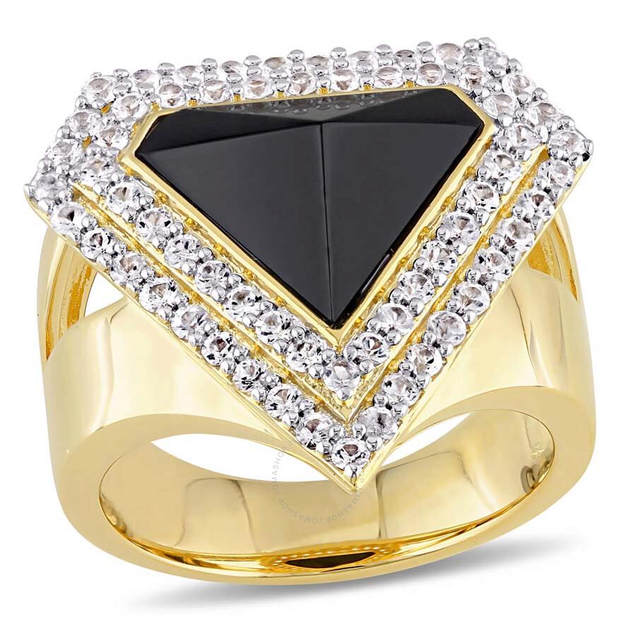V1969 Italia Black Agate and White Sapphire Mystique Ring - Size 8