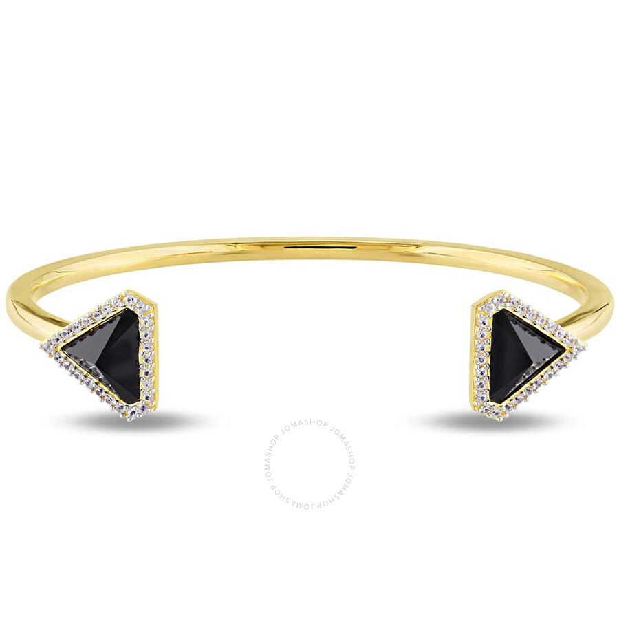 V1969 Italia Black Agate and White Sapphire Prism Cuff Bangle in 18k Yellow Gold Plated St