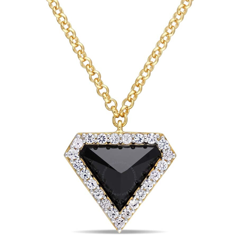 V1969 Italia Black Agate and White Sapphire Prism Necklace in 18k Yellow Gol..