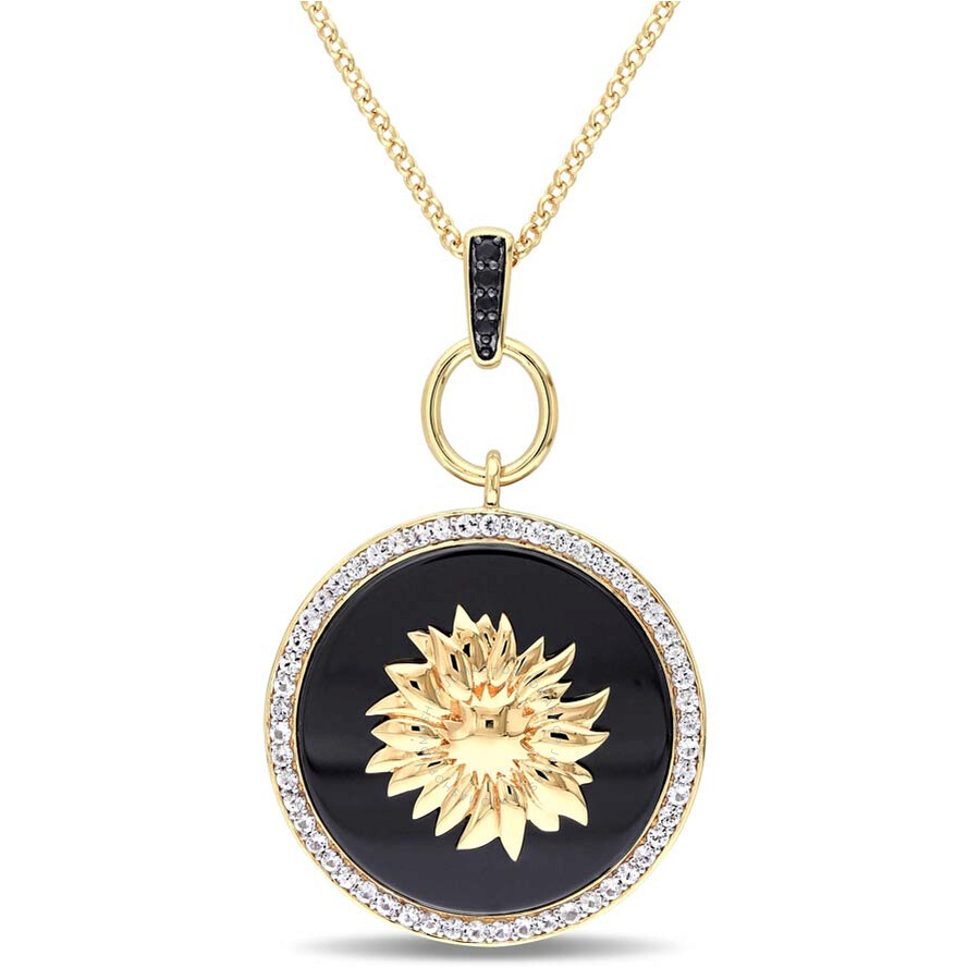 V1969 Italia Black Agate, White and Black Sapphire Sunflower Necklace in 18k..