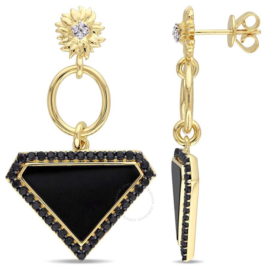 V1969 Italia Black Agate, White and Black Sapphire Sunflower Drop Earrings i..