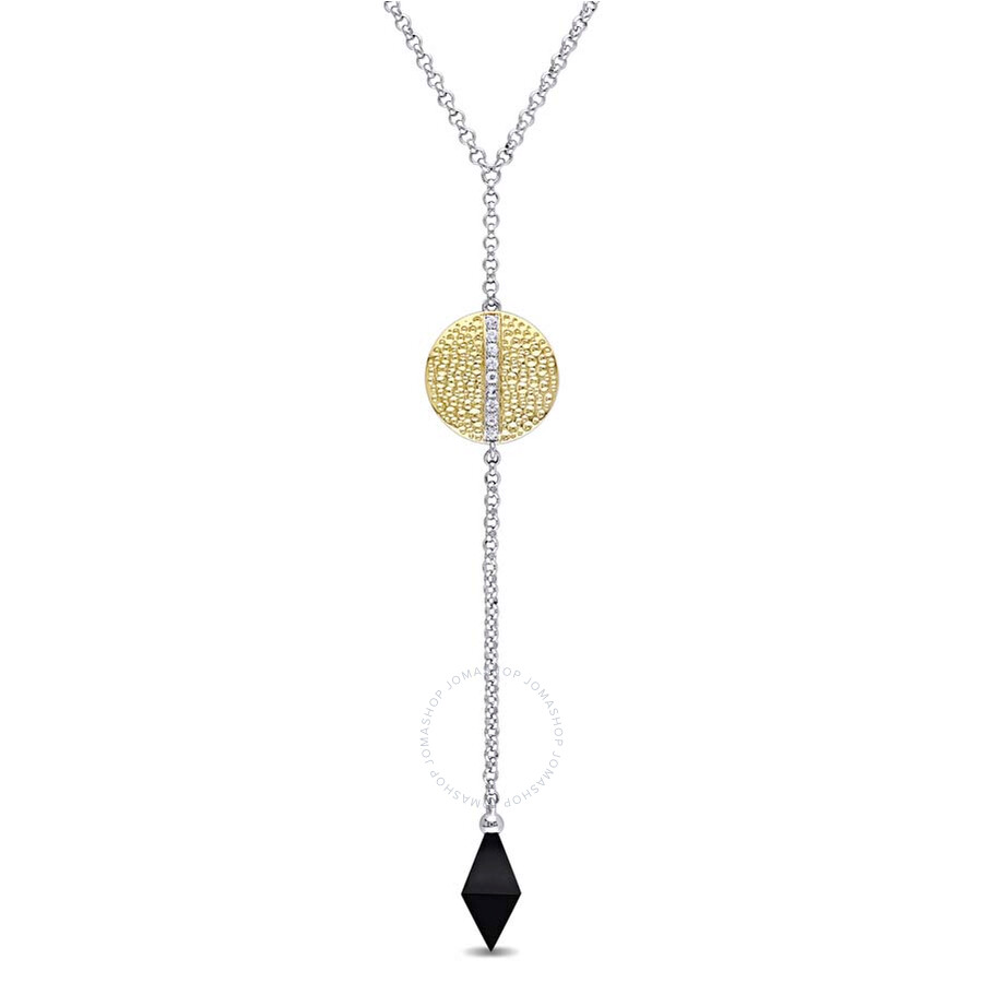 V1969 Italia Black Onyx and White Sapphire Moonlight Drop Necklace in 18k Ye..