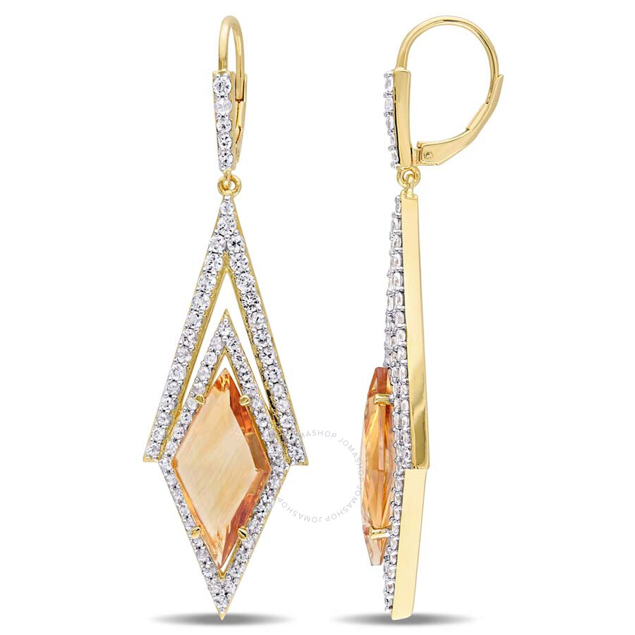 V1969 Italia Citrine and White Sapphire Prism 18K Yellow Gold-Plated Sterlin..