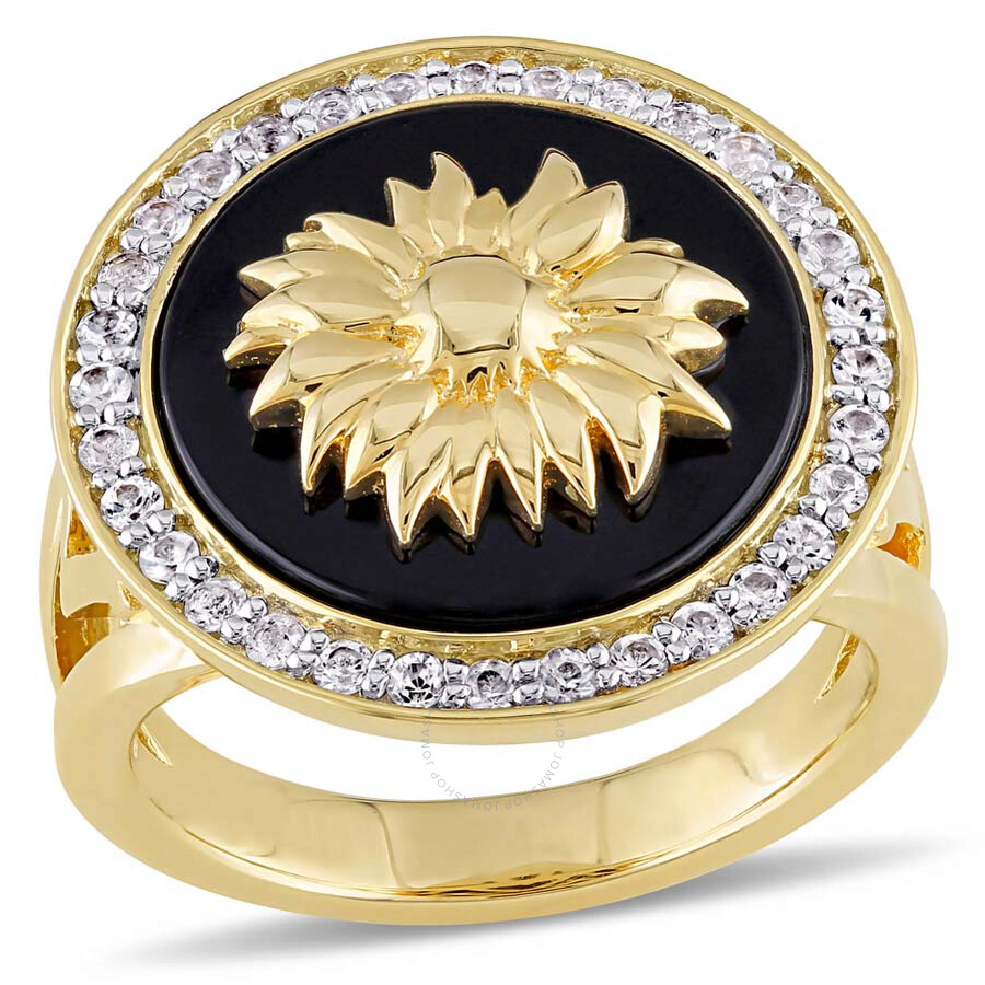 V1969 Italia White Sapphire and Black Agate Sunflower Ring - Size 6