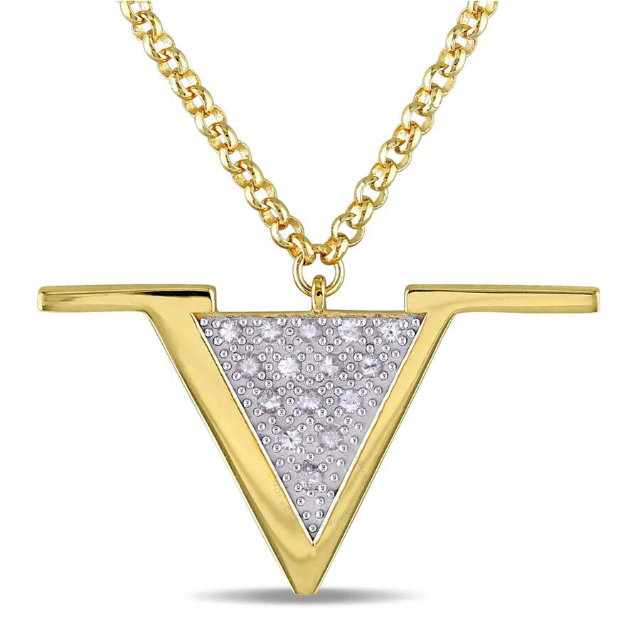 V1969 Italia White Sapphire Insignia Necklace in 18k Yellow Gold Plated Ster..