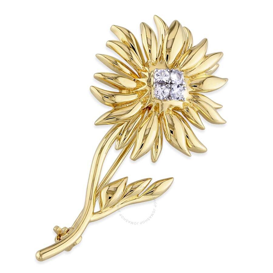 V1969 Italia White Sapphire Logo Flower Brooch in 18k Yellow Gold Plated Ste..