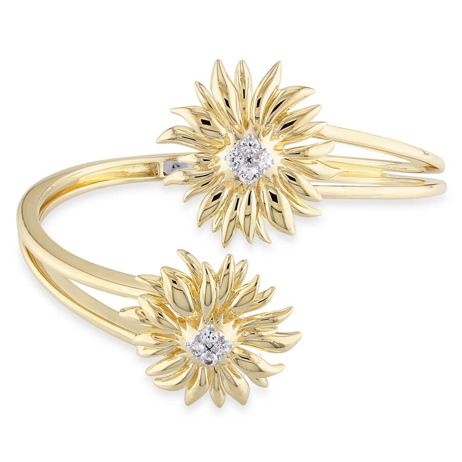 V1969 Italia White Sapphire Sunflower Bangle in 18k Yellow Gold Plated Sterl..