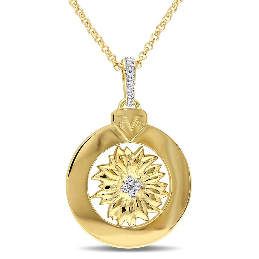 V1969 Italia White Sapphire Sunflower Drop Necklace in 18k Yellow Gold Plate..