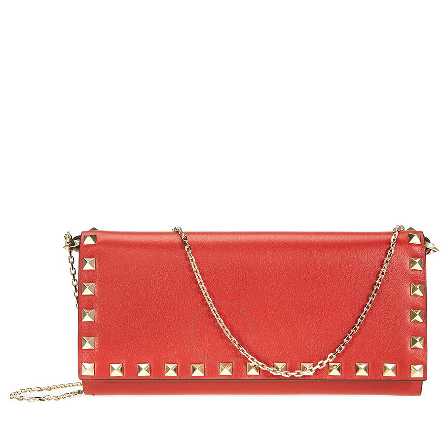 Valentino Rockstud Leather Wallet- Red