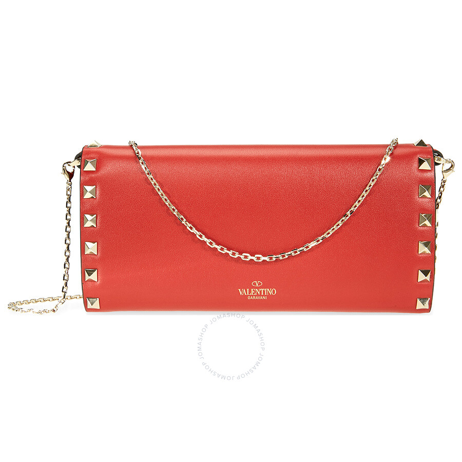 Valentino red Rockstud leather wallet Great Deals Cheap Price z69JBzI