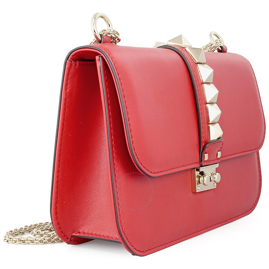 Valentino Rockstud Lock Medium Leather Shoulder Bag Red