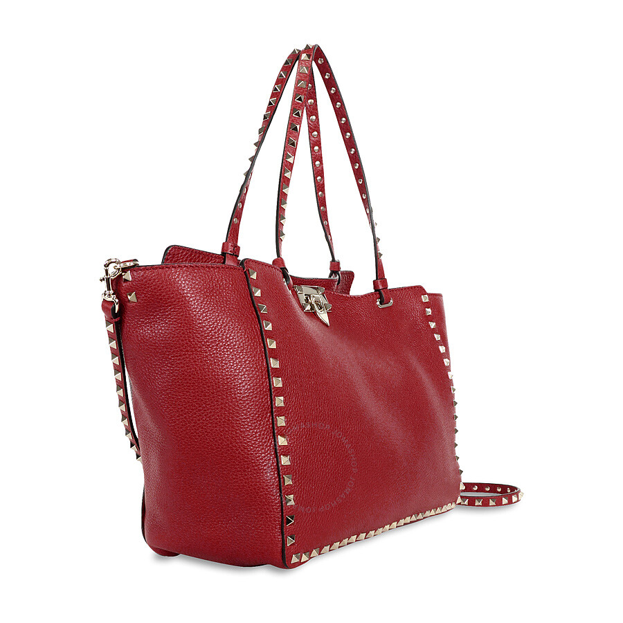 Valentino Rockstud Medium Double Handle Pebbled Leather Tote Bag Rosso