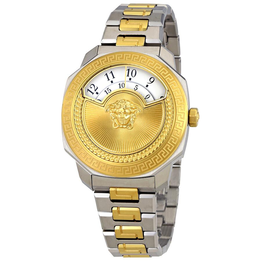 Versace Dylos Medusa White Disc Dial Ladies Two Tone Watch VQU04 0015