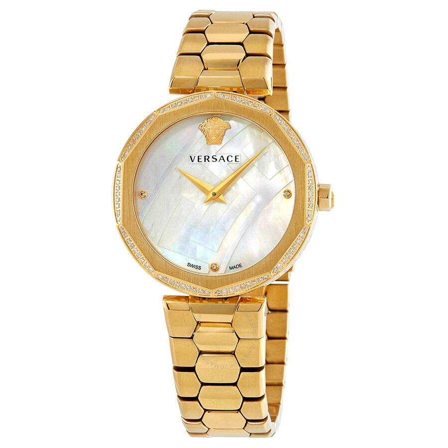 Versace idyia diamond mother of pearl dial ladies watch v17060017 versace watches jomashop for Mother of pearl dial watch