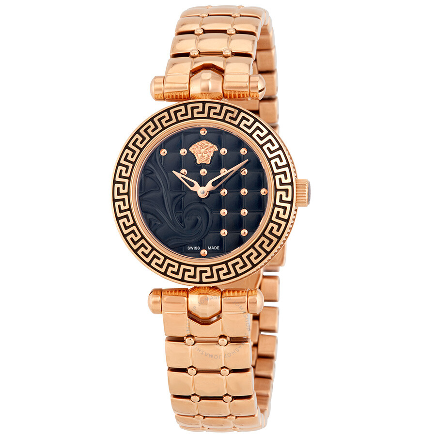 Versace Micro Vanitas Black Enamel Dial Ladies Gold-Tone Watch VQM05 0015