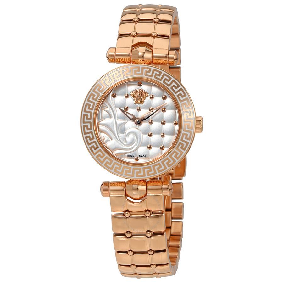 Versace Micro Vanitas White Dial Ladies Rose Gold Tone Watch VQM06 0015