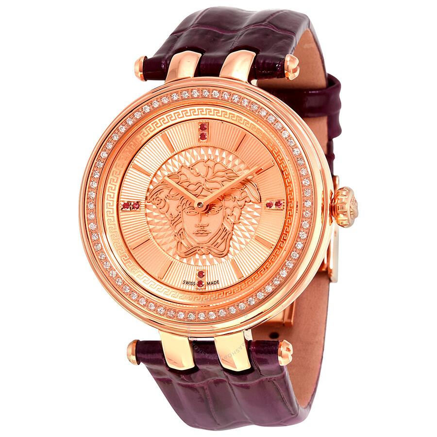Versace V-Helix Rose (Medusa Head) Dial Ladies Watch VQE060015