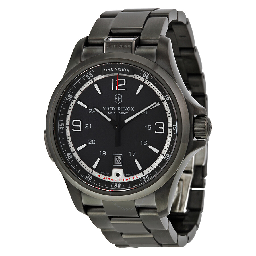 Open Box - Victorinox Swiss Army Night Vision Dark Grey Dial Stainless Steel Mens Watch 241665
