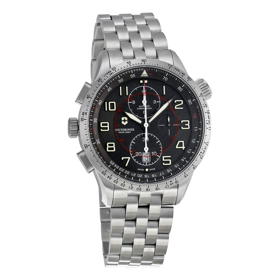 Victorinox Airboss Mach 9 Chronograph Automatic Black Dial Stainless Steel Mens Watch 241722