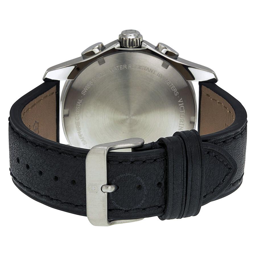 Victorinox chrono classic xls black dial black leather strap men 39 s watch 241651 chrono classic for Black leather strap men