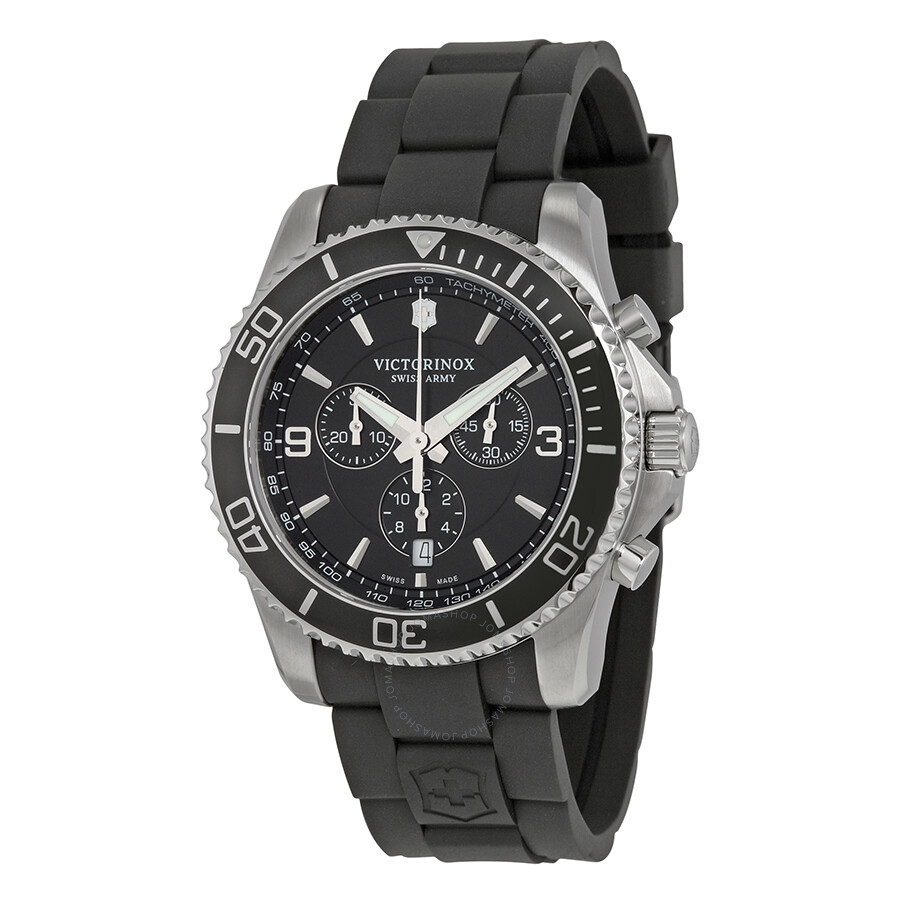 Victorinox swiss army maverick chronograph black dial black rubber men 39 s watch 241696 maverick for Victorinox watches