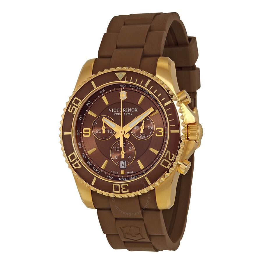 Victorinox Swiss Army Maverick Chronograph Brown Dial Rubber Men S Watch 241692