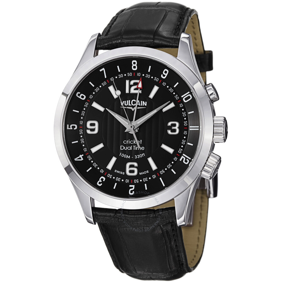 Vulcain Aviator Dual Time Mechanical Black Dial Mens Watch 100133.212LFBK