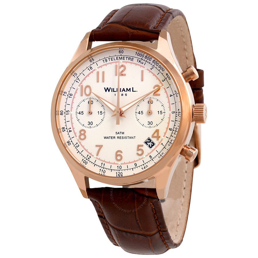 William L 1985 Vintage White Dial Mens Brown Leather Chronograph Watch WLOR0..