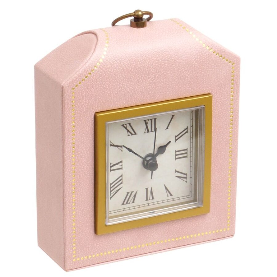 Wolf Abbot Pink Faux Leather Desk Clock 321415 Move Your Mouse Over Image Or To Enlarge