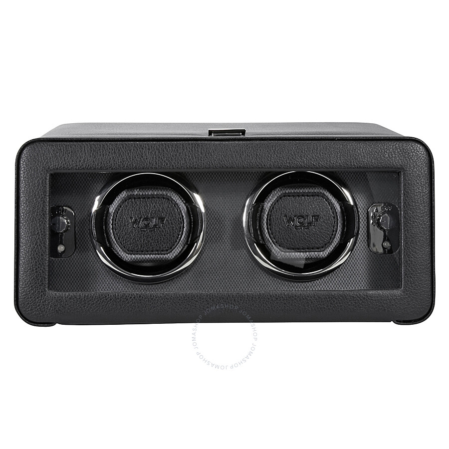 wolf windsor module 2 5 black leather double watch winder 4526029