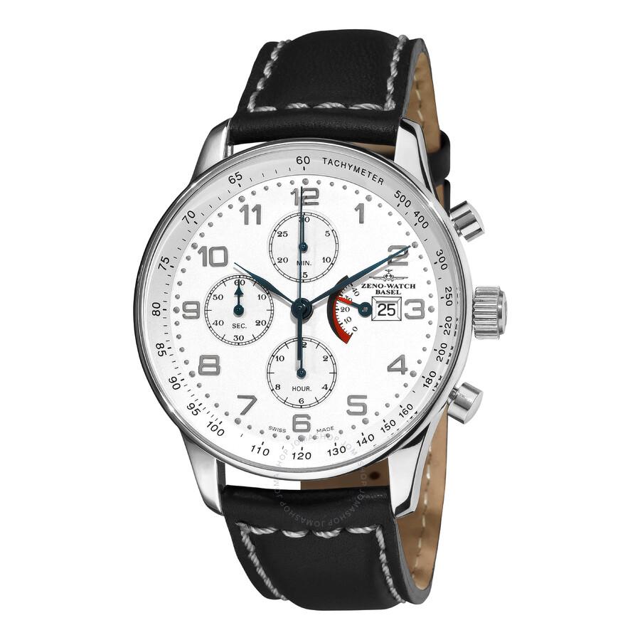 Zeno Retro Chronograph White Dial Black Leather Strap Mens Watch P557PR-E2