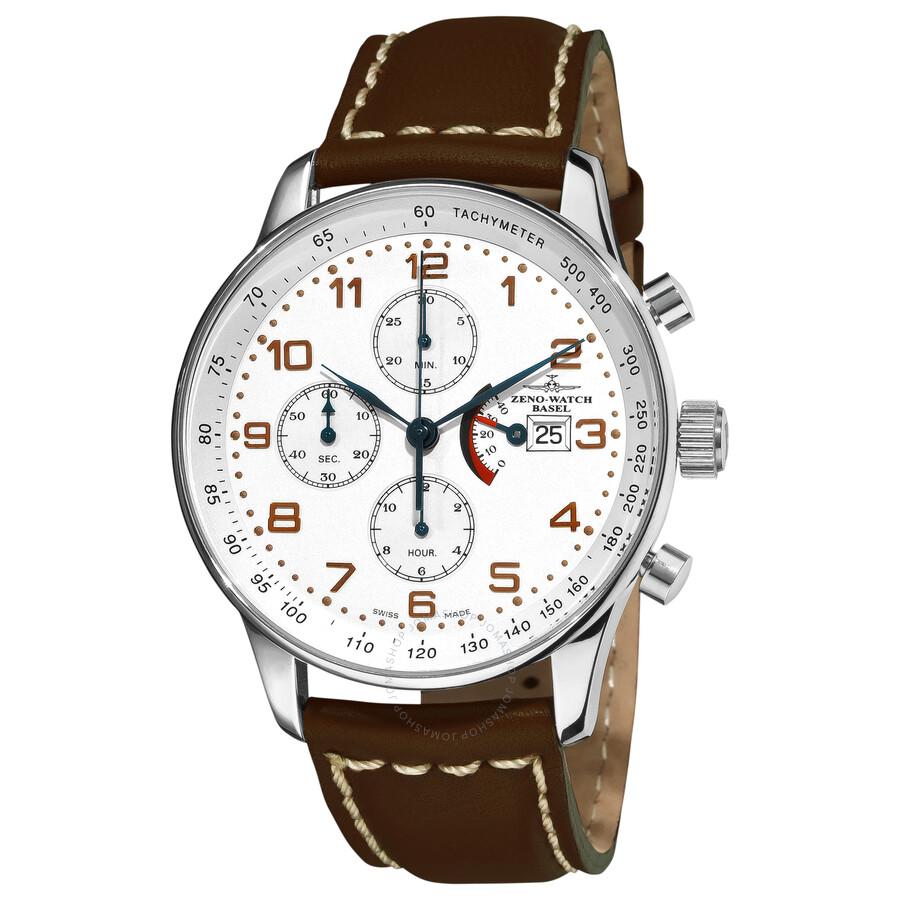 Zeno Retro Chronograph White Dial Brown Leather Strap Mens Watch P557PR-F2