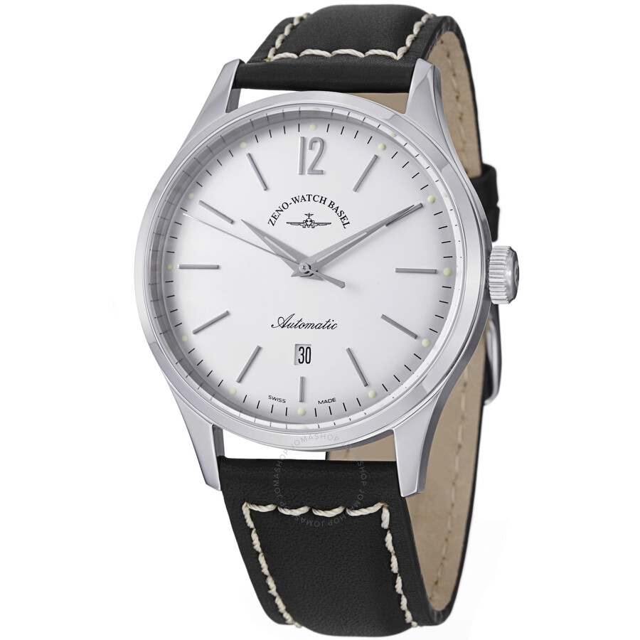 Zeno Vintage Line Automatic Silver Dial Black Leather Mens Watch 6564-2824-I2