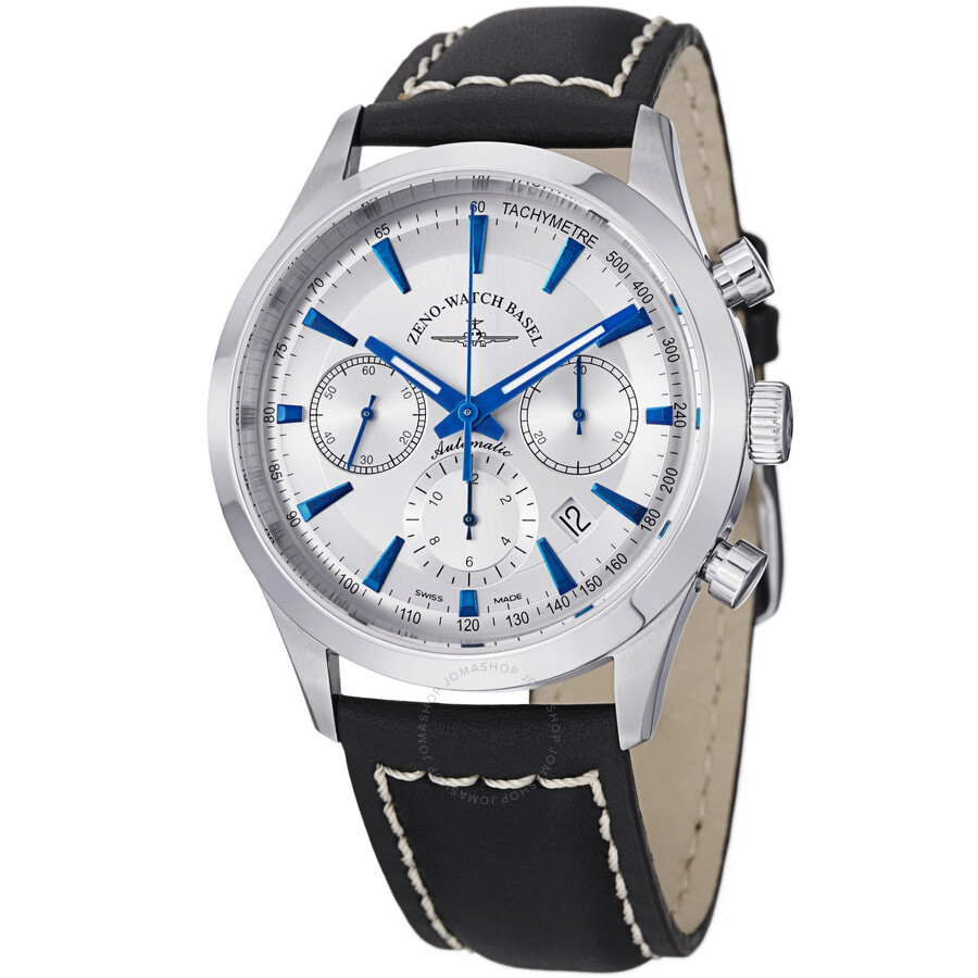 Zeno Vintage Line Chronograph Silver Dial Black Leather Mens Watch 6662-7753-G3
