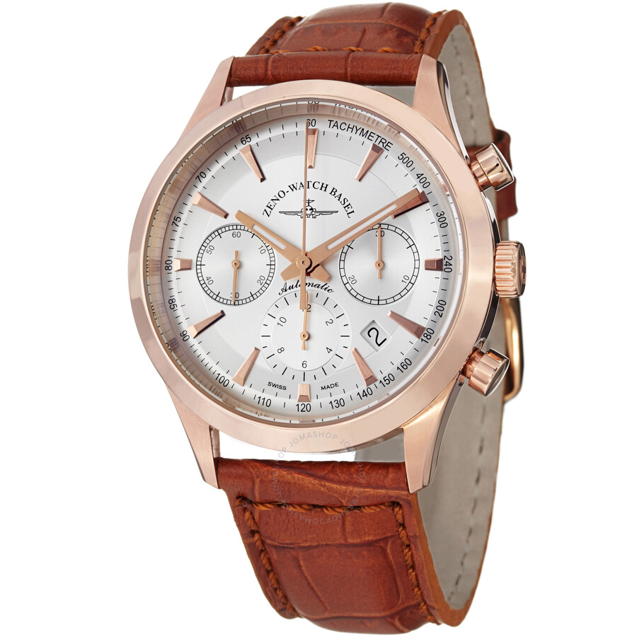 Zeno Vintage Line Chronograph Silver Dial Leather Mens Watch 6662-7753PGR-F2